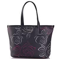 Черная сумка-шоппер Armani Jeans с цветочным принтом, фото