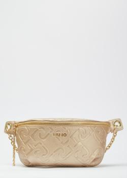 Золотистая поясная сумка Liu Jo Affidabile с тиснением логотипа, фото