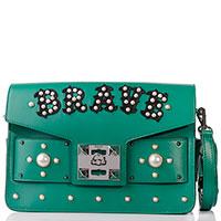 Зеленая сумка Salar с декором-надписью, фото
