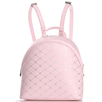 Рюкзак Blumarine B Obsession из розовой кожи с фирменным тиснением, фото