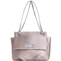 Текстильная сумка Blumarine Sophie Satin бежевого цвета с волнистой стежкой, фото