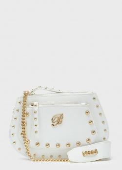 Белая сумка-седло Blumarine Andrea с ремнем-цепочкой, фото