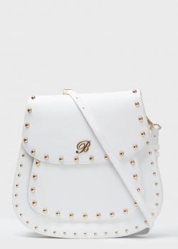 Белая сумка-седло Blumarine Andrea с декором-заклепками, фото