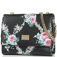 Черная сумка-кроссбоди Blumarine Lara с цветочным принтом, фото