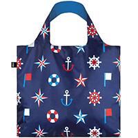 Эко-сумка синего цвета Loqi Nautical с морским принтом, фото