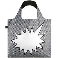 Черно-белая складная сумка Loqi Pop Talk, фото