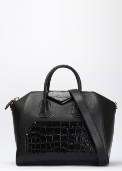 Черная сумка Givenchy Antigona с тиснением кроко, фото