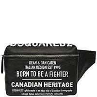 Черная сумка на пояс Dsquared2 с принтом, фото