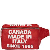 Поясная сумка Dsquared2 красная с принтом, фото