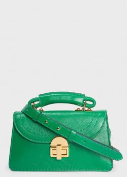 Зеленая сумка Marni со стежкой на клапане, фото