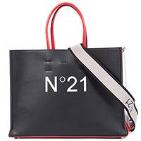 Сумка N21 черно-белая на съемном ремне, фото
