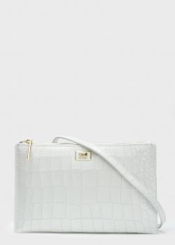 Белая сумка-клатч Cavalli Class из кожи с тиснением, фото