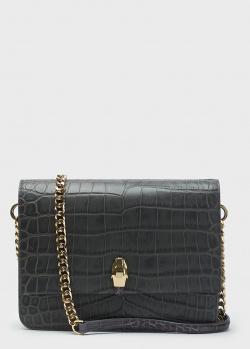 Темно-серая сумка Cavalli Class с тиснением кроко, фото
