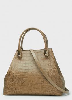 Коричневая сумка Cavalli Class с тиснением кроко, фото