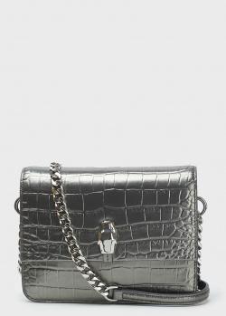 Серебристая сумка Cavalli Class с тиснением кроко, фото