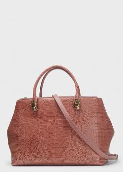 Розовая сумка-тоут Cavalli Class из кожи с тиснением, фото