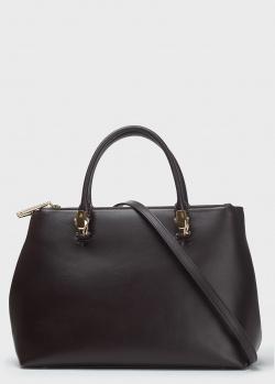Темно-коричневая сумка Cavalli Class из гладкой кожи, фото