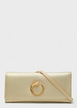 Золотистый клатч Cavalli Class Millie из мелкозернистой кожи, фото