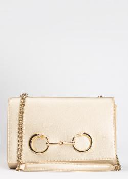 Золотистая сумка-клатч Cavalli Class Millie из мелкозернистой кожи, фото