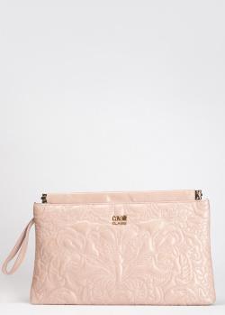 Светло-розовый клатч Cavalli Class Chloe со стежкой, фото