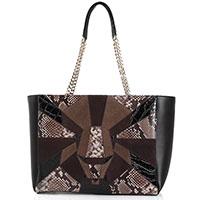 Кожаная сумка Cavalli Class Panthera Prestige коричневого цвета, фото