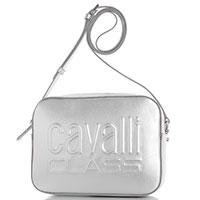 Серебристая сумка Cavalli Class Nancy с брендовой надписью, фото