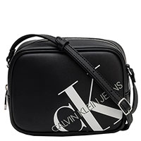 Черная женская сумка Calvin Klein с белым логотипом, фото