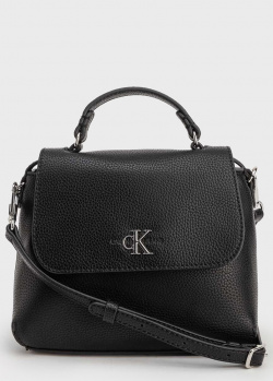 Черная сумка Calvin Klein с металлическим лого, фото