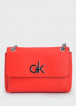 Красная сумка Calvin Klein с цепочками, фото
