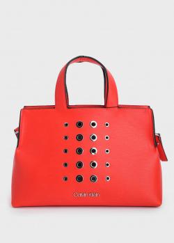 Красная сумка Calvin Klein с металлическими вставками, фото