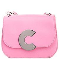 Розовая сумка Coccinelle Craquante с металлической буквой, фото