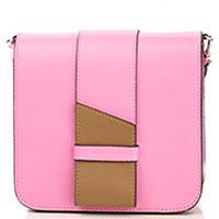 Розовая сумка Coccinelle Themis с коричневой вставкой, фото