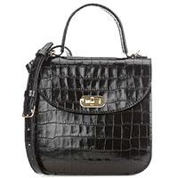 Черная сумка Coccinelle Greez Croco из кожи с тиснением, фото