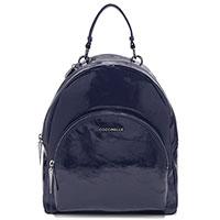 Темно-синий рюкзак Coccinelle из лаковой кожи, фото