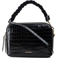 Черная сумка кросс-боди Coccinelle Croco с тиснением кроко, фото