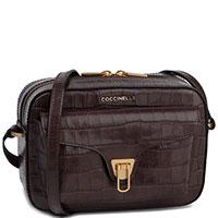 Женская сумка Coccinelle Beat Croco с теснением кроко коричневого цвета, фото