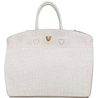 Белая сумка Coccinelle с тиснением кроко, фото