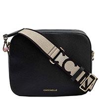 Черая сумка Coccinelle на широком ремне, фото