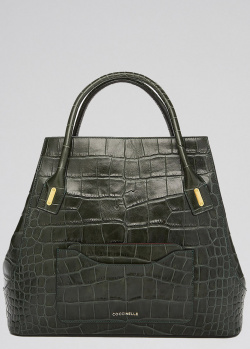 Зеленая сумка-тоут Coccinelle с тиснением под рептилию, фото