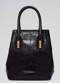 Маленькая черная сумка Coccinelle с тиснением, фото