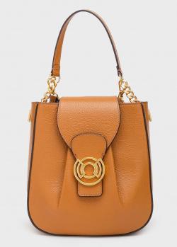 Коричневая сумка Coccinelle Cachet с золотистой фурнитурой, фото
