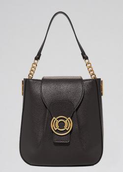 Черная сумка-седло Coccinelle Cachet с золотистым логотипом, фото