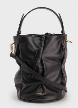 Сумка-мешок Coccinelle Jude из жатой черной кожи, фото