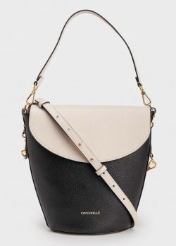Черно-бежевая сумка Coccinelle со съемным ремнем, фото