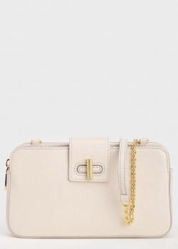 Светло-бежевая сумка Coccinelle Fedra с цепочкой, фото
