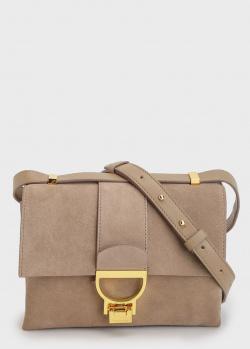 Замшевая сумка Coccinelle Arlettis бежевого цвета, фото