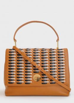 Коричневая сумка Coccinelle с плетением на клапане, фото