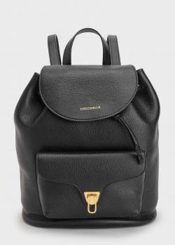 Черный рюкзак Coccinelle Beat с фирменной надписью, фото