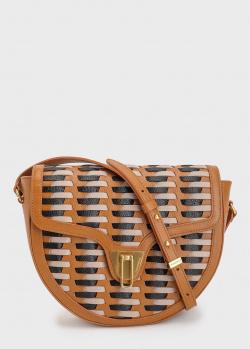 Сумка-седло Coccinelle Beat из кожи с плетением, фото