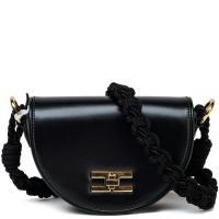 Черная сумка Elisabetta Franchi на текстильном ремне, фото